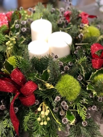 Candles and flower Xmas Arrangement